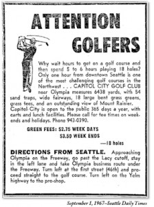 1967 Ad for Capitol City Golf Club