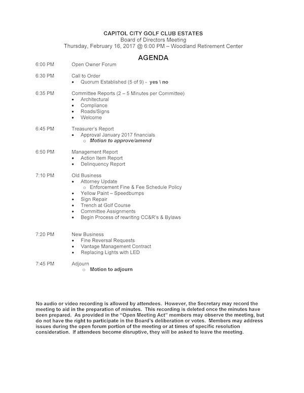 Ccgce Board Meeting Agenda: Feb 16, 2017 :: Capitol City Golf Club