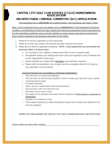 Architectural Control Committee Application